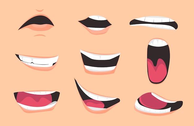Set di espressioni di bocca di cartone animato Vettore Premium