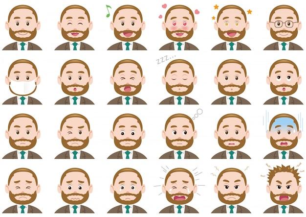 Set di espressioni diverse uomo d'affari. caratteri vettoriali isolati Vettore Premium