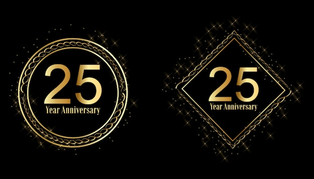 Set di etichette celebrazione anniversario d'oro Vettore Premium