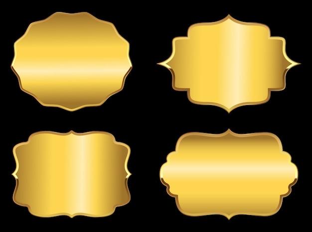 Set di etichette d'oro Vettore Premium