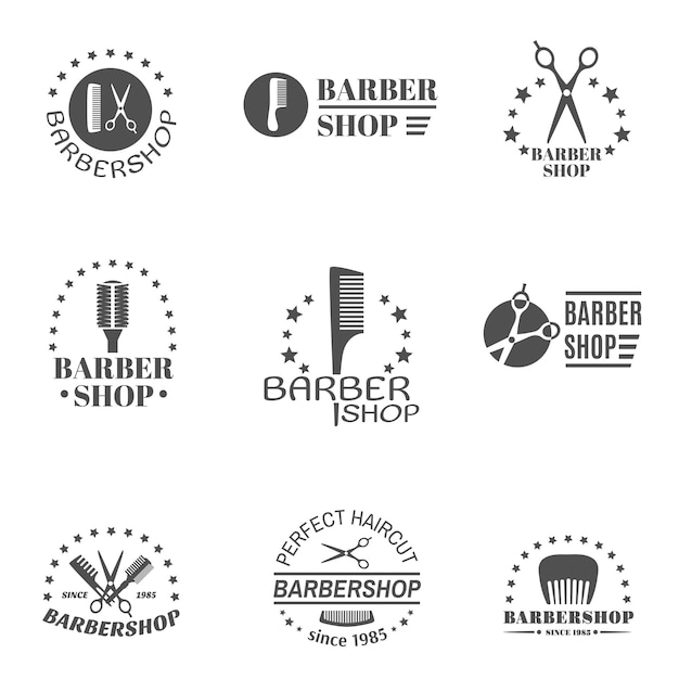 Set di etichette del negozio di barbiere Vettore gratuito