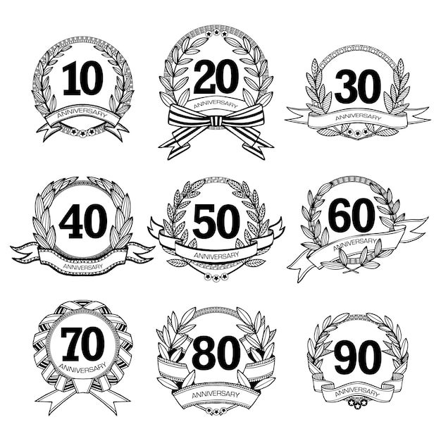 Set di etichette di anniversario Vettore gratuito