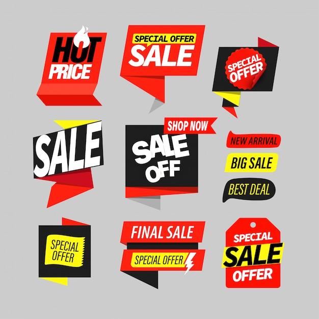 Set di etichette di banner di vendita Vettore Premium