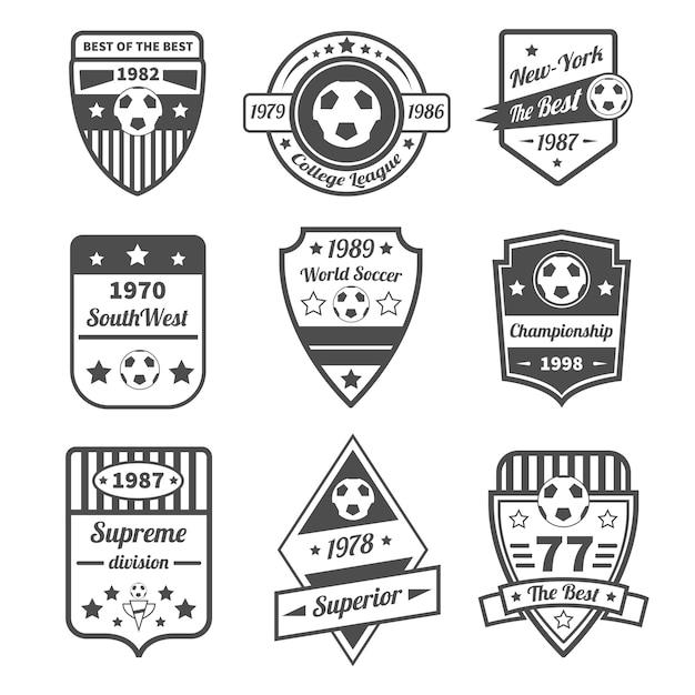 Set di etichette di calcio Vettore gratuito