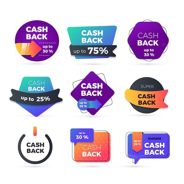 Set di etichette di cashback creativo Vettore gratuito