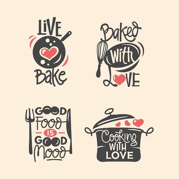 Set di etichette di citazioni di cucina e cucina, tipografia carta tagliata e scritte Vettore Premium