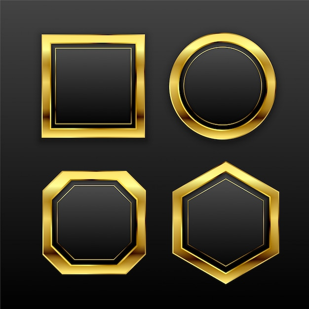Set di etichette di distintivo vuoto geometrico dorato scuro Vettore gratuito