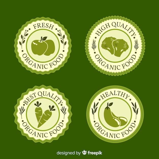 Set di etichette di frutta biologica disegnata a mano Vettore gratuito