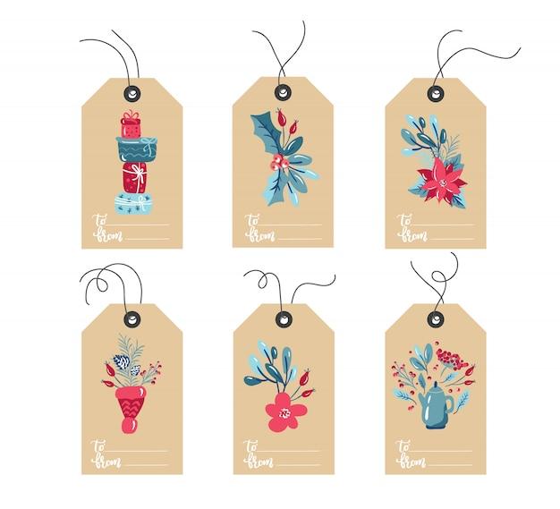 Set di etichette di natale doodle disegnato a mano Vettore Premium