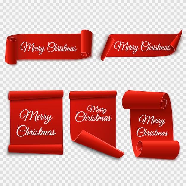 Set di etichette di natale. rotoli e striscioni rossi isolati. etichette di buon natale e felice anno nuovo. illustrazione Vettore Premium