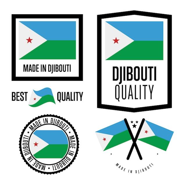 Set di etichette di qualità di gibuti Vettore Premium
