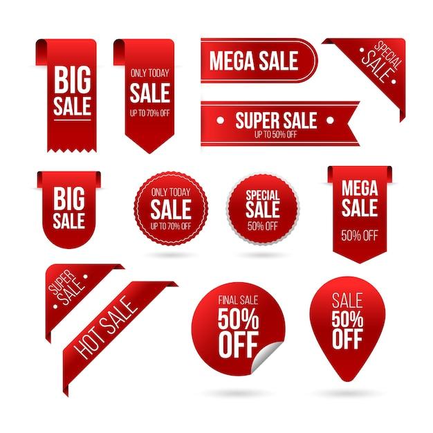 Set di etichette di vendita realistico Vettore gratuito