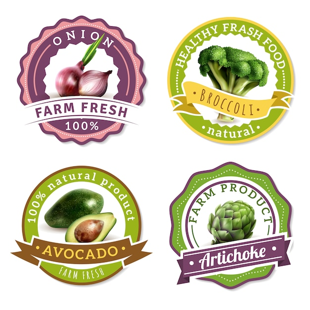Set di etichette di verdure Vettore gratuito