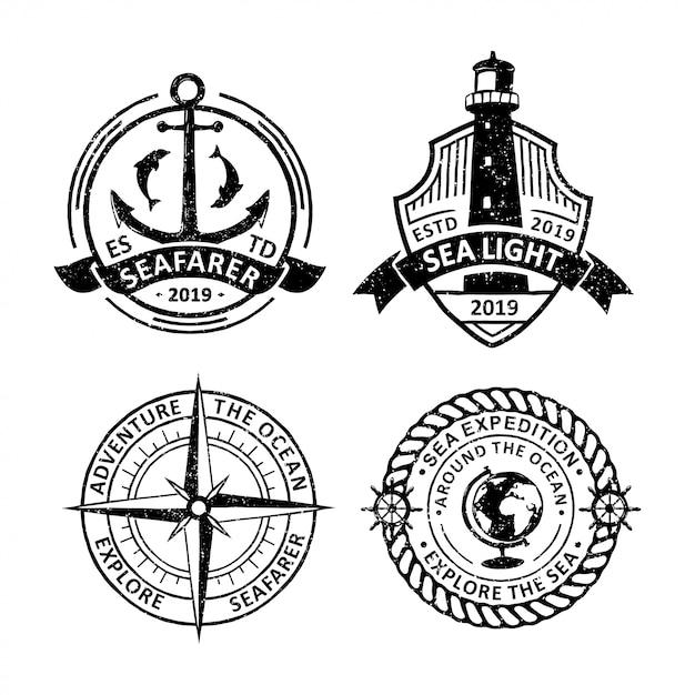 Set di etichette distintivi di vela d'epoca, emblemi e logo Vettore Premium