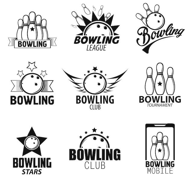 Set di etichette e icone di bowling Vettore Premium