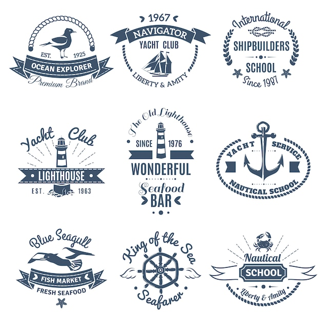 Set di etichette e loghi marini nautici Vettore gratuito