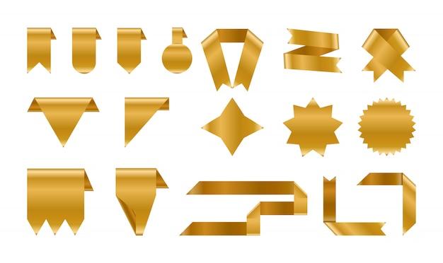 Set di etichette e nastri in lamina d'oro lucido. Vettore Premium