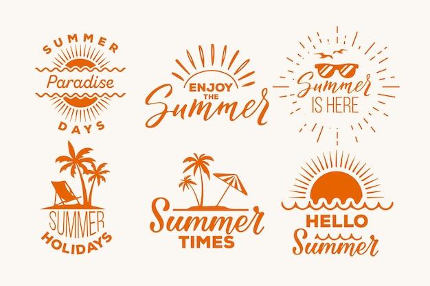 Set di etichette estive Vettore gratuito