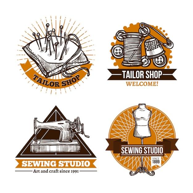 Set di etichette fatte a mano da cucire Vettore gratuito