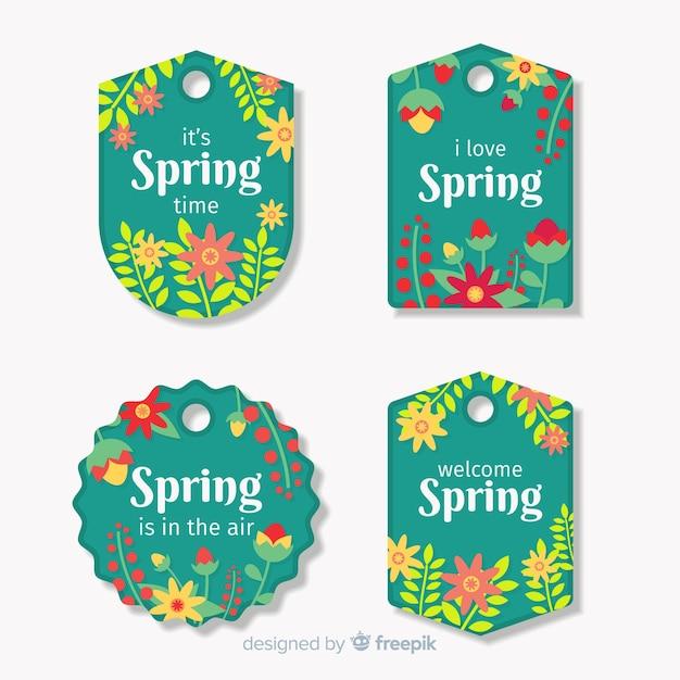 Set di etichette floreali primaverili Vettore gratuito