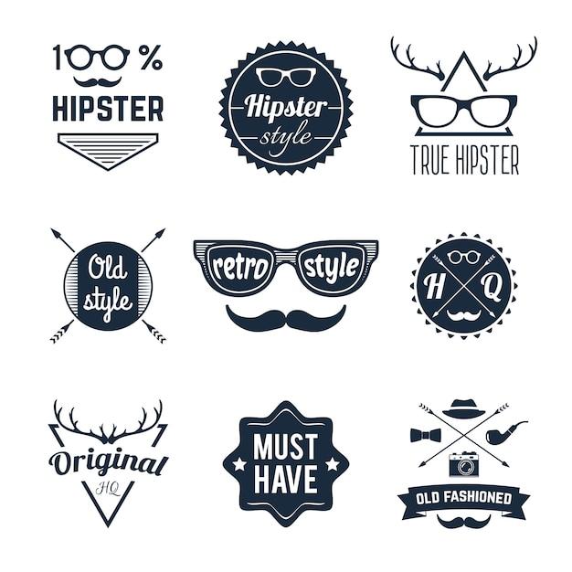 Set di etichette hipster Vettore gratuito