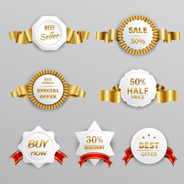Set di etichette in vendita Vettore gratuito