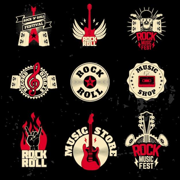 Set di etichette musicali su sfondo grunge. Vettore Premium