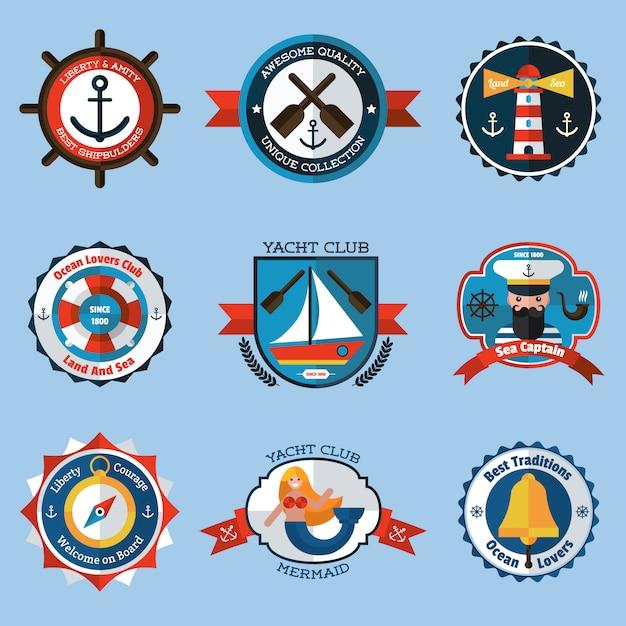 Set di etichette nautiche Vettore gratuito