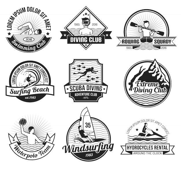 Set di etichette nere per sport acquatici Vettore gratuito