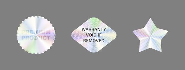 Set di etichette ologramma isolare adesivo ologramma Vettore Premium