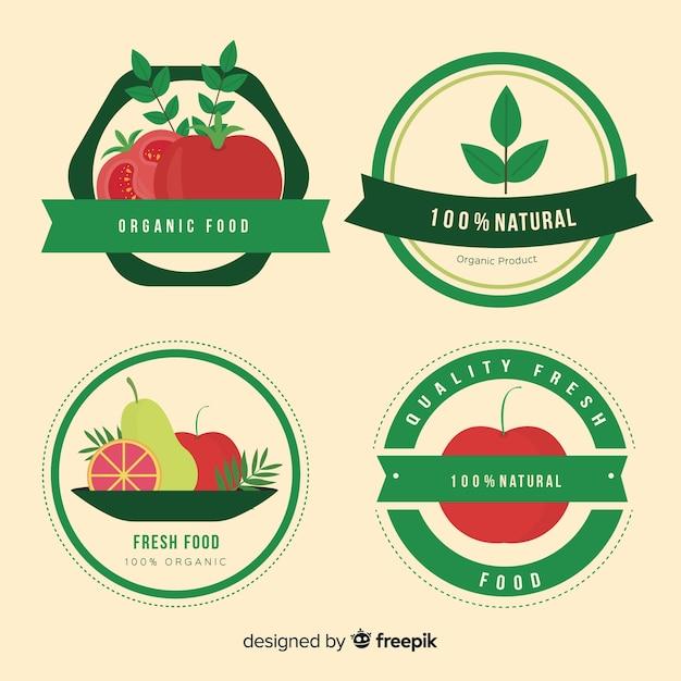 Set di etichette per frutta biologica piatta Vettore gratuito
