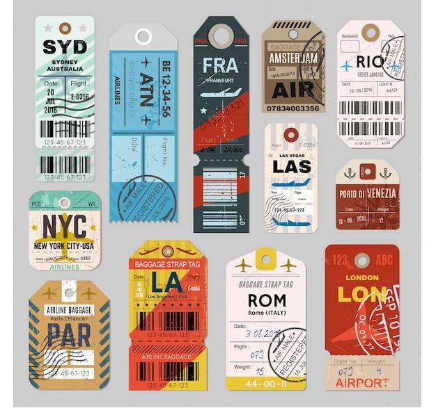 Set di etichette per il bagaglio Vettore Premium