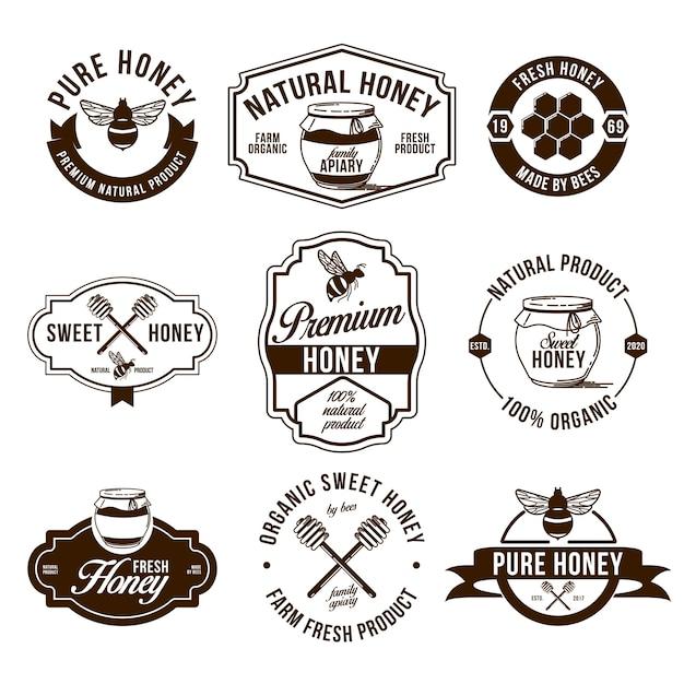 Set di etichette piatte di fattoria di miele Vettore gratuito