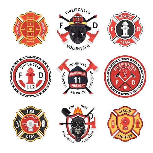 Set di etichette pompiere Vettore Premium