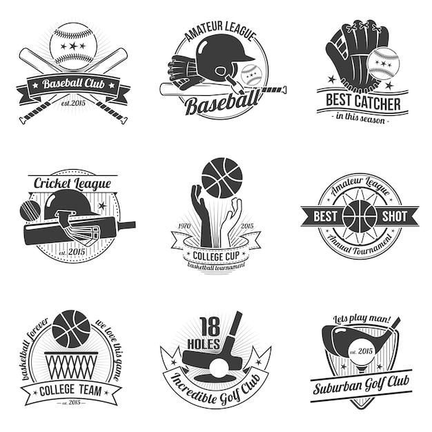 Set di etichette sportive Vettore gratuito
