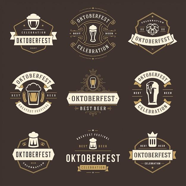 Set di etichette, stemmi e loghi del festival della birra celebrazione dell'oktoberfest Vettore Premium