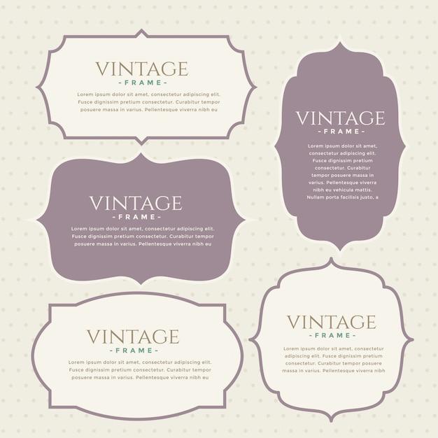 Set di etichette vintage classico design Vettore gratuito