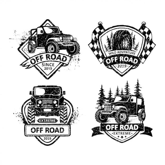 Set di etichette vintage distintivi fuoristrada, emblemi e logo Vettore Premium