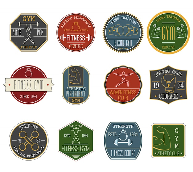 Set di etichette vintage fitness Vettore gratuito