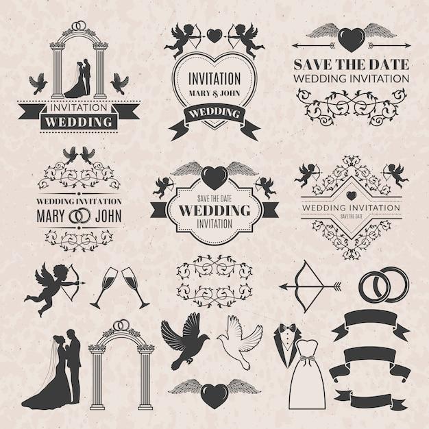 Set di etichette vintage per invito a nozze. Vettore Premium