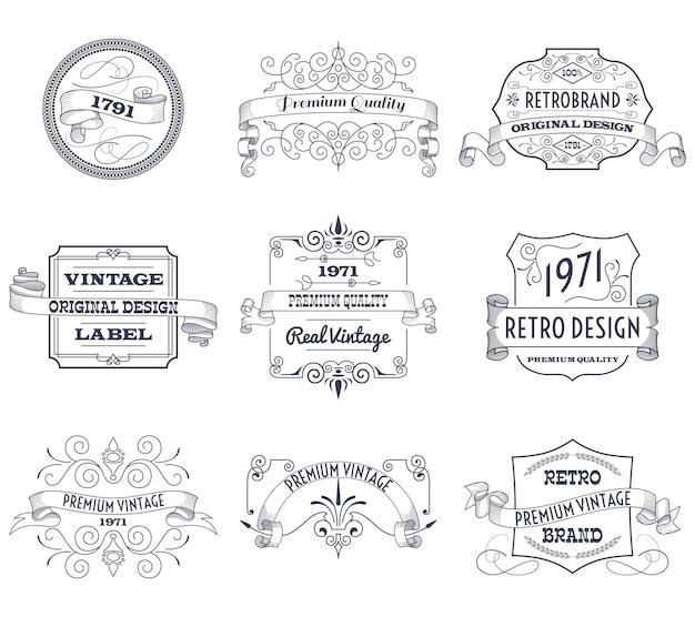 Set di etichette vintage Vettore gratuito