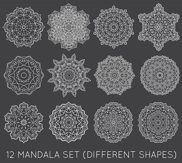 Set di etnico frattale mandala meditation Vettore Premium