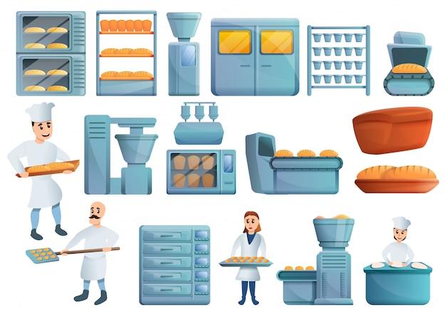 Set di fabbrica di panetteria, in stile cartone animato Vettore Premium