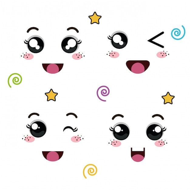 Set di facce di emoticon Vettore Premium