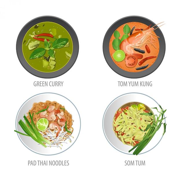 Set di famoso cibo tailandese Vettore Premium