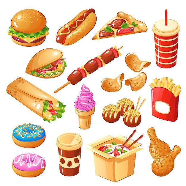 Set di fast food comprese le bevande Vettore gratuito