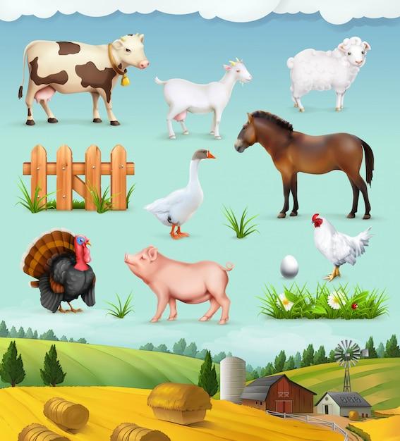 Set di fattoria, animali e uccelli Vettore Premium