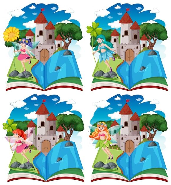 Set di fiabe diverse e la torre del castello in stile cartone animato libro pop-up isolato su sfondo bianco Vettore gratuito