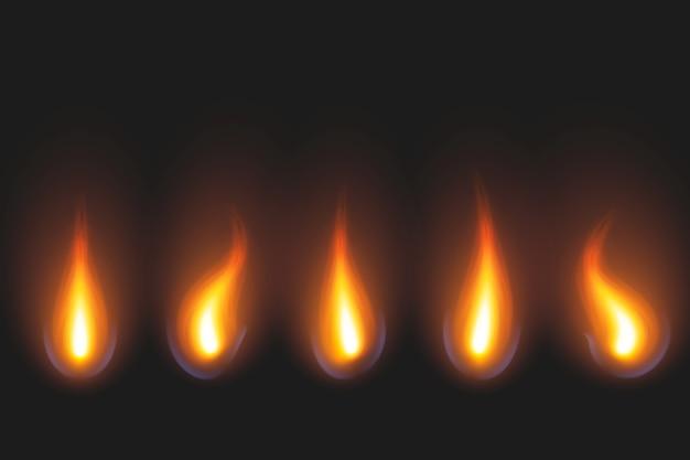 Set di fiamma di candela in tonalità dorate e rosse Vettore gratuito