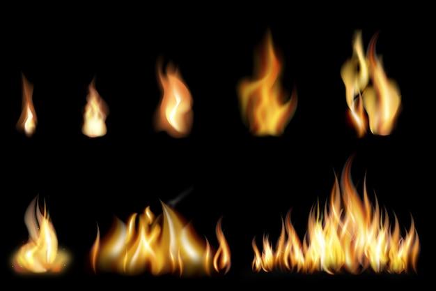 Set di fiamme di fuoco realistiche di varie dimensioni Vettore gratuito